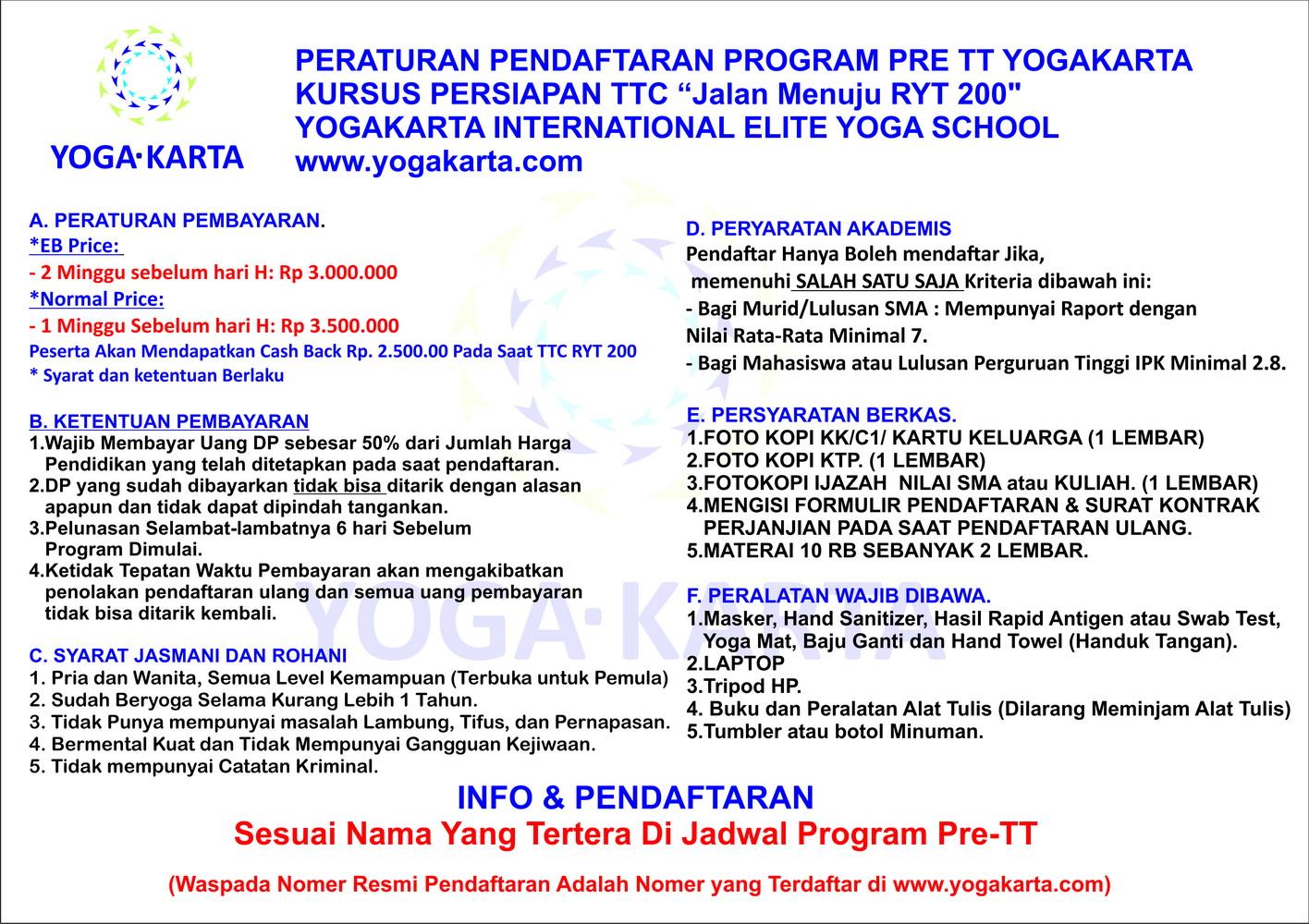 Peraturan Pendaftaran Pelatihan Pre TT Yogakarta