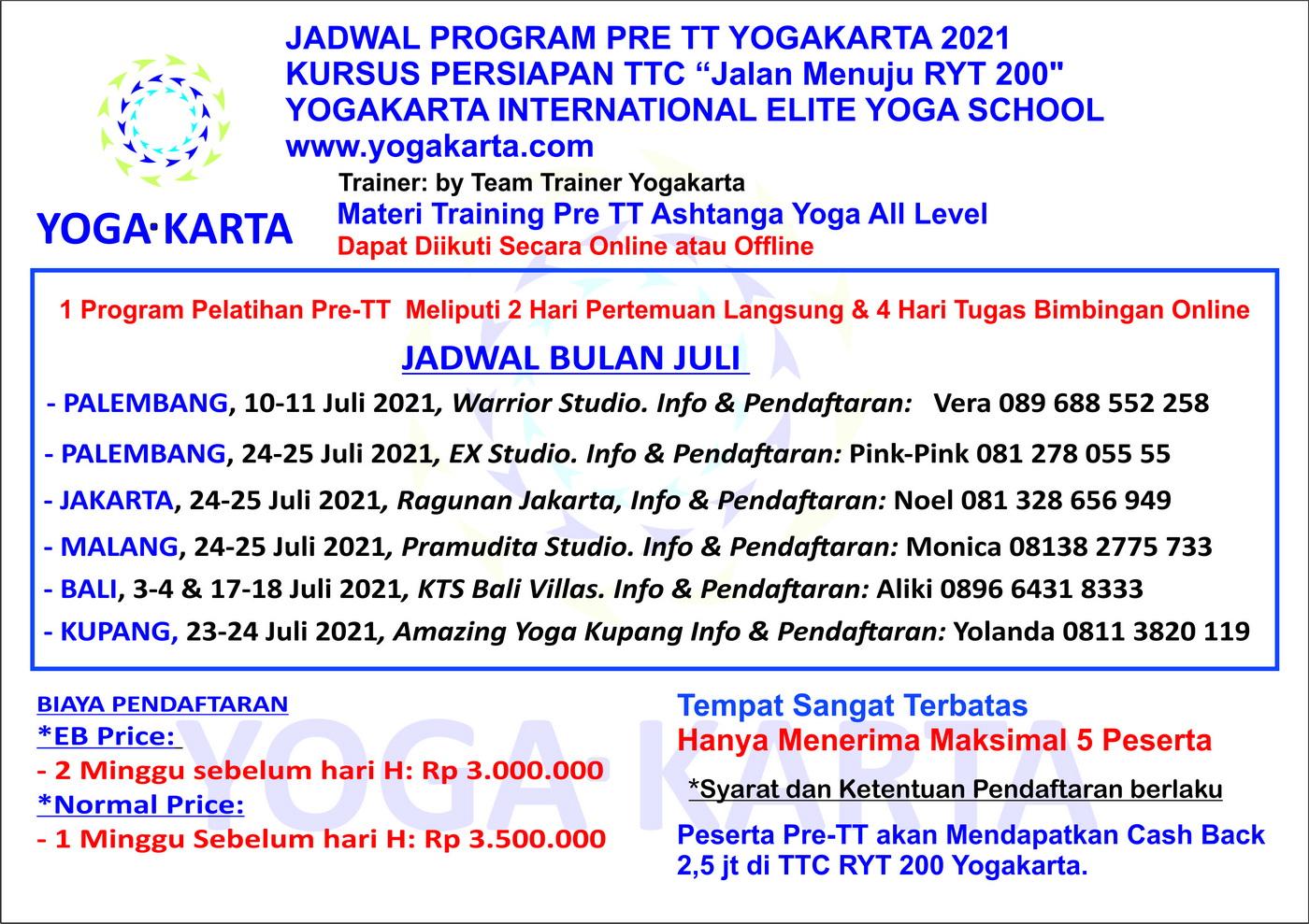 Jadwal Pelatihan Pre TT Yogakarta Juli